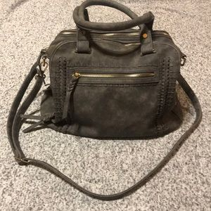 Charcoal Gray & Gold Buckle Crossbody Bag